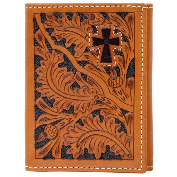 3D Wallet Men Leather Trifold Tooled Acorn Cross Natural - One size