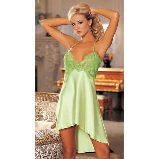 Charmeuse And Lace Chemise, Hoty Sheer Lace Chemise