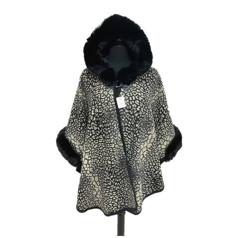 Womens One Size Casual Party Poncho Hoodie Caps With Faux Fur Leopard Print Coat For Ladies Girls
