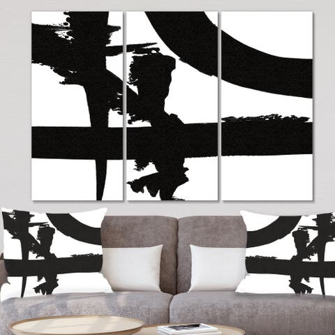 Designart 'Black & White Crossing Paths I' Modern Gallery-wrapped Canvas