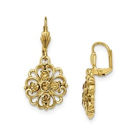 Goldtone Yellow Crystal Round Drop Earrings