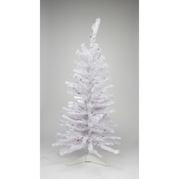 4' Pre-lit White Iridescent Pine Artificial Christmas Tree - Pink/Purple Lights