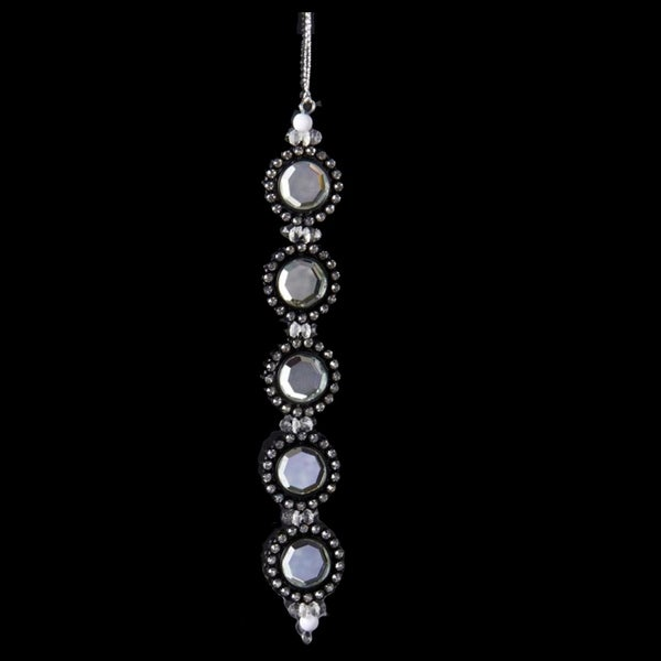 "7"" Glamour Time Black Circular Shaped Rhinestone Drop Christmas Ornament"