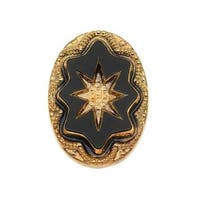 Czech Glass, Vintage Style Intaglio Star Cabochon 25x18mm, 1 Piece, Gold on Jet