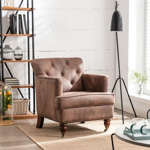 Living leisure Upholstered Fabric Club Chair, Antique Brown