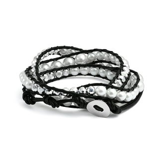 Bling Jewelry White Imitation Pearl Black Leather Wrap Bracelet Alloy 24in
