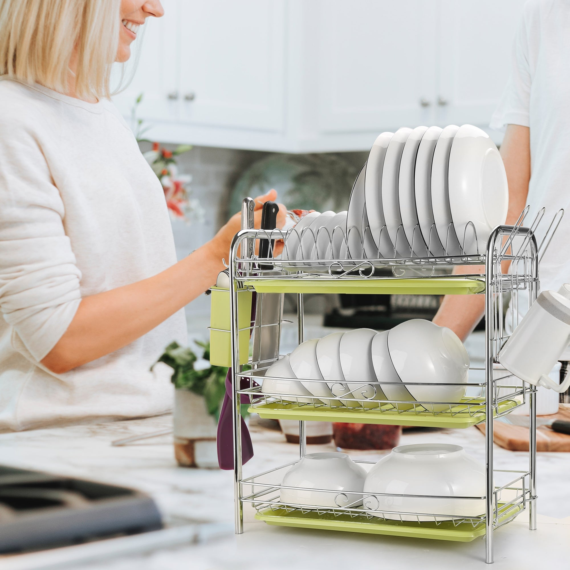 3 Level Chrome Dish Drying Rack Kitchen Dish Drainer Storage with Draining  Board and Cutlery Cup 22.04 x 9.05 x 18.50 IN