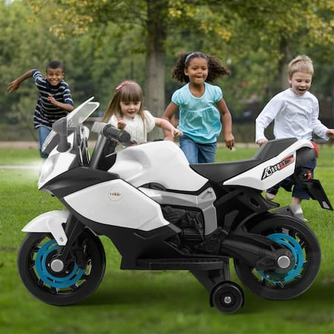 "6v white children ride motor electric motorcycle w/ training wheels - 7'6"" x 9'6"""