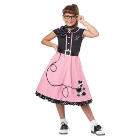 Girls 50's Sweetheart Pink Poodle Skirt Halloween Costume