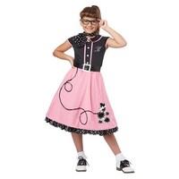 girls 50s sweetheart pink poodle skirt halloween costume