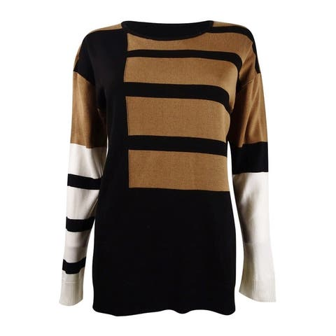Calvin Klein Women's Colorblocked Crewneck Sweater - Black Heather Vicuna