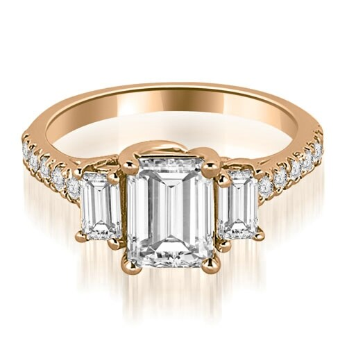 1.90 cttw. 14K Rose Gold Lucida Three-Stone Diamond Emerald Engagement Ring