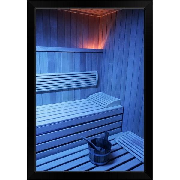 """""""A sauna in blue light, Sweden"""" Black Framed Print"""