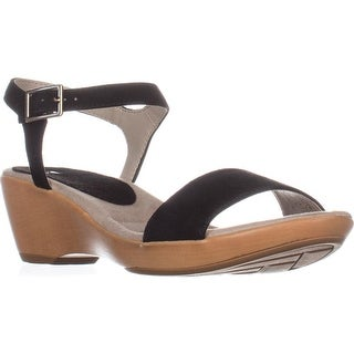 White Mountain Corky Ankle Strap Wedge Sandals, Black
