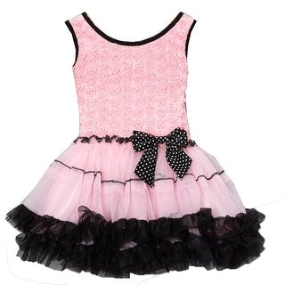 Little Girls Pink Black Rosette Bodice Polka Dotted Bow Pettiskirt Dress 2T-6