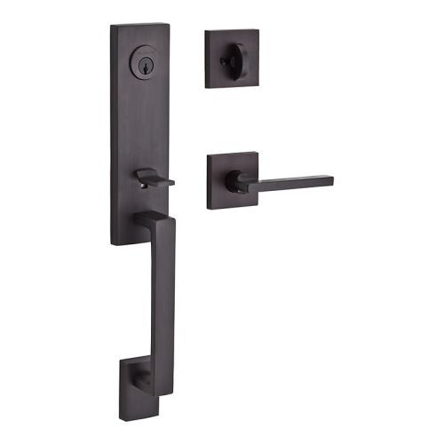 Baldwin SC.SEAxSQU.R.CSR Seattle Right Handed Single Cylinder Keyed Entry Handleset with Contemporary Square Rose and Square