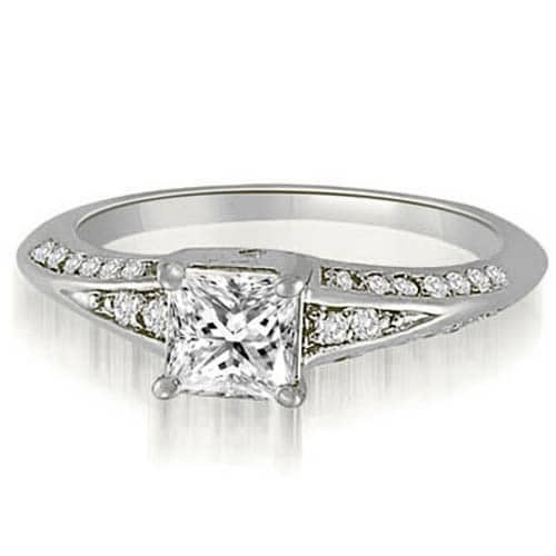 0.80 cttw. 14K White Gold Princess And Round Diamond Engagement Ring
