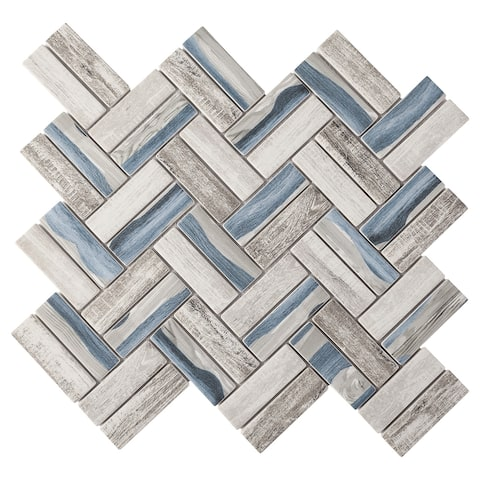 "TileGen. Recycle Herringbone Wooden Look 1"" x 3"" Glass Mosaic Tile in Blue/Gray Wall Tile (10 sheets/9.6sqft.)"