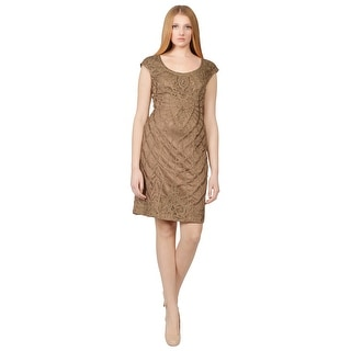 Sue Wong Toffee Soutache Embroidered Cap Sleeve Sheath Cocktail Dress - 4