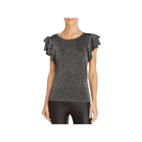 Lucy Paris Womens Pullover Top Metallic Ruffle Sleeves