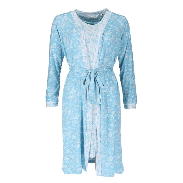 Sag Harbor Women\'s Floral Sleeveless Night Gown and Robe Set - Free ...