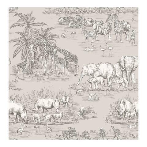 Durban Grey Watering Hole Wallpaper - 20.5 x 396 x 0.025