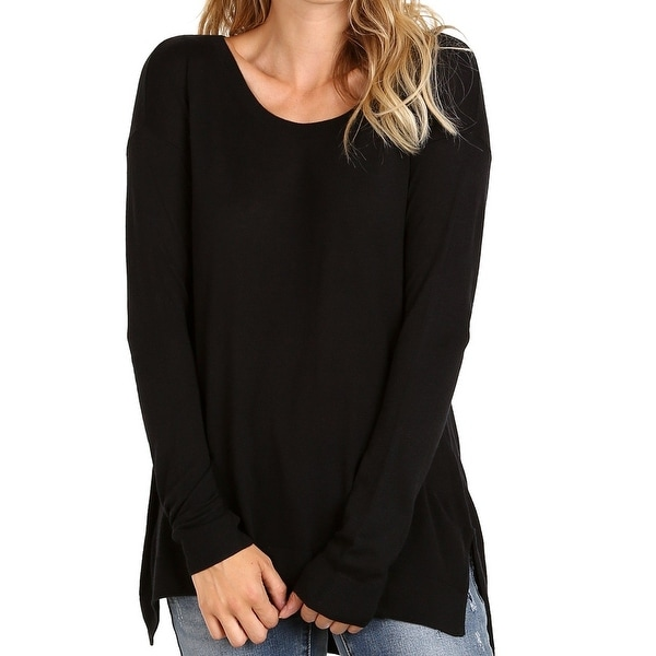 71f55a9f86d Shop Splendid Black Womens Size XS Solid Scoop-Neck High-Low Knit Top -  Free Shipping On Orders Over  45 - Overstock.com - 20700516