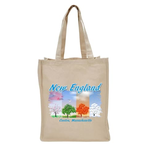 """17"""" Beige Reusable Shopping and Tote Bag with New England Trees Design"""