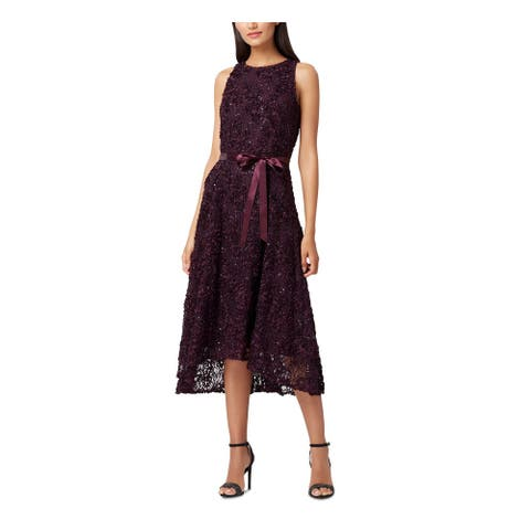 TAHARI Purple Sleeveless Knee Length Fit + Flare Dress Size 4