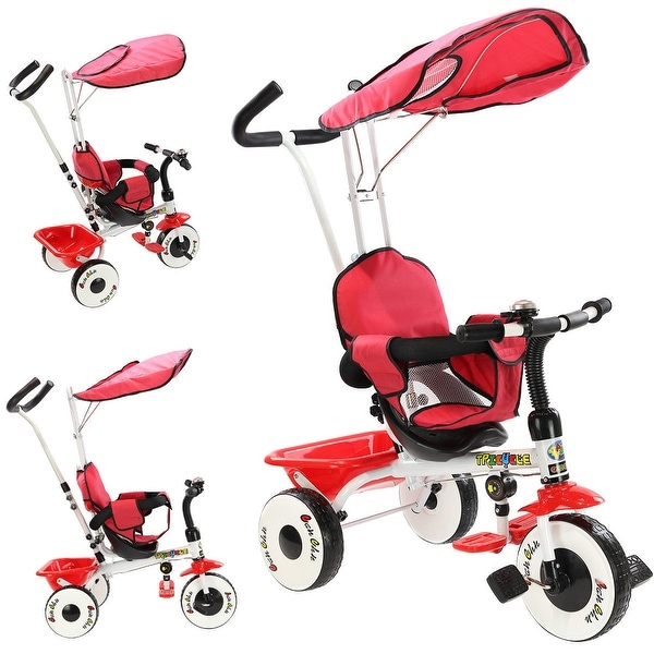 Costway 4-In-1 Kids Baby Stroller Tricycle Training Learning Toy Bike w/ Canopy Basket - Red