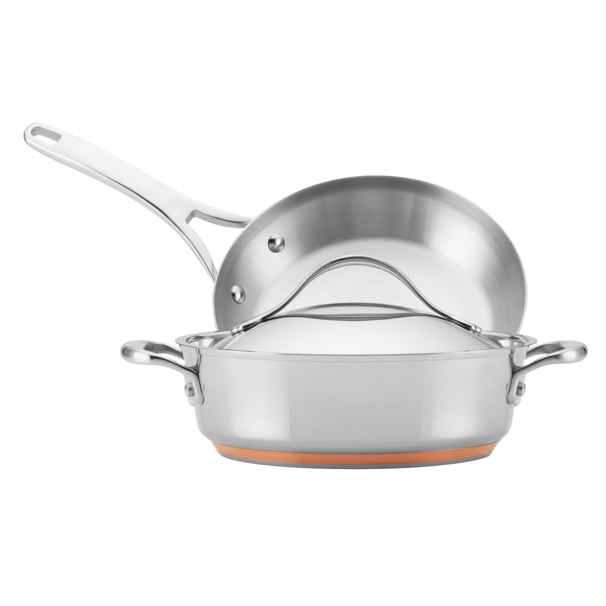 Anolon Nouvelle Copper Stainless Steel 3 Piece Set 9 5 Open Skillet 3 Qt Covered Sauteuse W Swing Lid On Sale Overstock 26060591