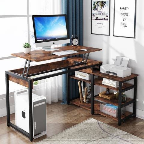 52 Inch L-Shaped Computer Desk, Industrial Lift Top Desk with 3 Tier Storage Shelves