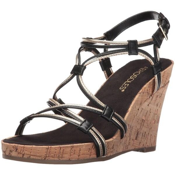 Aerosoles Womens Real Plush Leather Open Toe Casual Platform Sandals