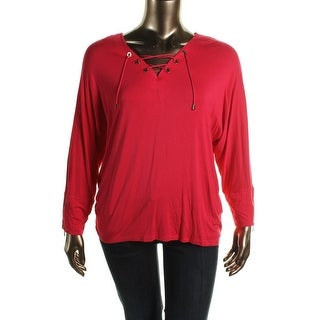 Calvin Klein Womens Embellished Dolman Pullover Top