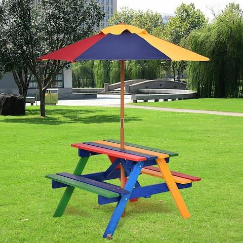 Costway 4 Seat Kids Picnic Table w/Umbrella Garden Yard Folding