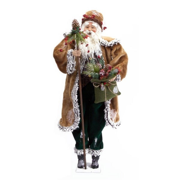 "33.5"" Country Rustic Santa Claus Christmas Figure with Pine Cone Stick and Bag"