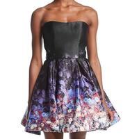 Betsy & Adam Black Women's Size 2 Floral Satin A-Line Dress
