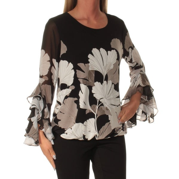 a77f833016e Shop ALFANI $79 Womens New 1157 Black Floral Jewel Neck Long Sleeve Casual  Top S B+B - Free Shipping On Orders Over $45 - Overstock - 22432701