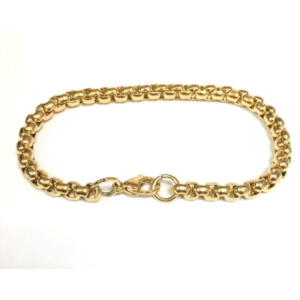 Gold Stainless Steel Round Box Bracelet
