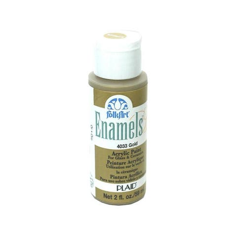 4033 plaid folkart enamels paint 2oz pure gold