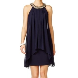 Vince Camuto NEW Blue Women's Size 6 Beaded-Neck Popover Shift Dress