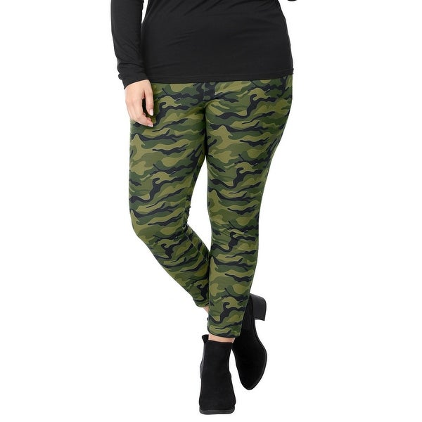 Allegra K Women's Plus Size Stretch Camouflage Elastic Waist Skinny Leggings - Green