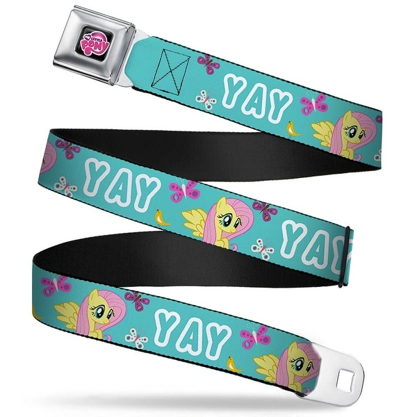 My Little Pony Logo Full Color Black Pink Yay W Fluttershy Aqua Webbing Seatbelt Belt