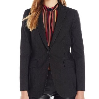 Anne Klein NEW Black Women's Size 16 Pinstripe Notch-Collar Jacket