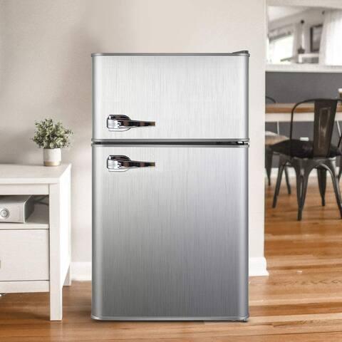 3.2 Cu.ft Compact Refrigerator Double Door Mini Fridge with Top Door