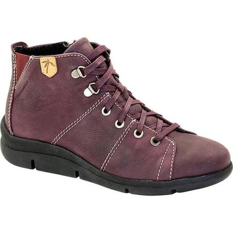 Dromedaris Women's Vonie Lace Up Mid Top Shoe Wine Leather