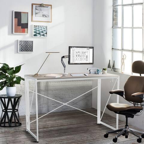 NOVA FURNITURE Home office Folding Computer Desk, Folding writing Desk with Natural Desktop