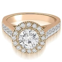 1.79 cttw. 14K Rose Gold Halo Round Cut Diamond Engagement Ring