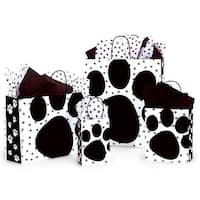 "Pack Of 125, Assortment Gloss Pooch's Paws Paper Shopping Bags 25 Rose (5.25"" x 3.5"" x 8.25""), 50 Cub, 25 Vogue & 25 Queen"