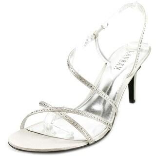 Lauren Ralph Lauren Theresa Women Open Toe Canvas Silver Sandals